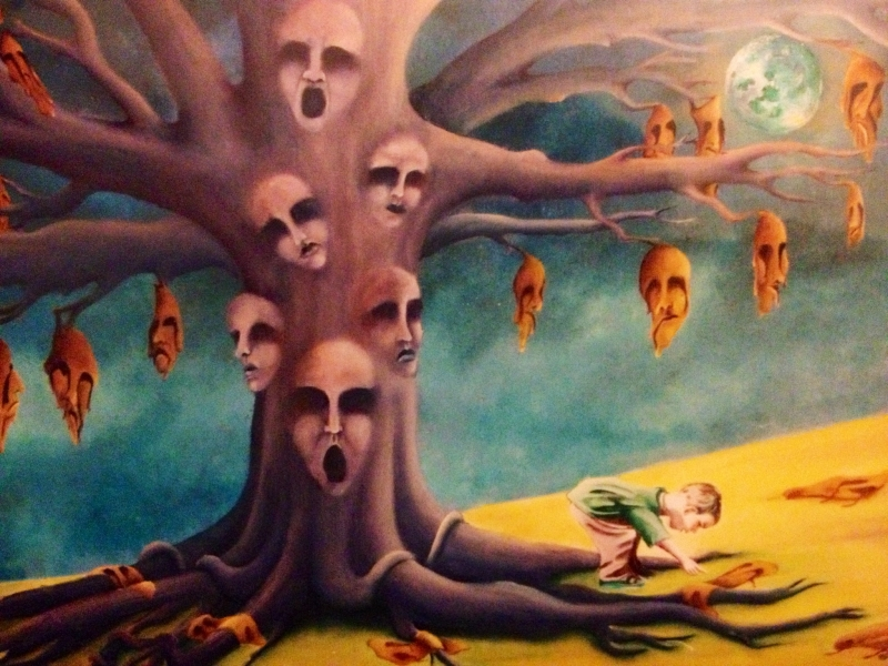 Surrealism, contemporary surrealism, feminism, feminist artist, feminist painting, dreammy landscape, weird art, contemporary art, Jessica Ballantyne, Jessica Ballantyne artist, surreal landscape, womans legs seperated, sexy legs, erotic, disturbing, red oil painting, purple, creepy landscape, tree and moonlight, Sylvia Plath, the moon yew tree, melting faces, surreal colours