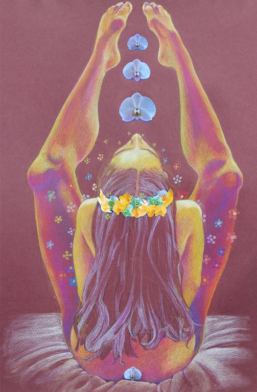 gliclee print, fine art print, Jessica Ballantyne, Happy, Hippy, Flower child, self love, sensual art, erotic, nude, feminist, warm art, warm tones, pastel colours, pastel color, pastels on paper
