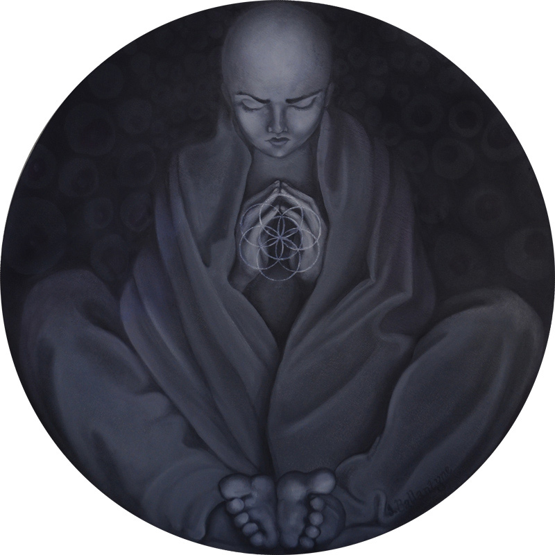 Monk; Jessica Ballantyne; circular painting; circle canvas; round painting; round art; circle art; spiritual; meditation; meditating monk; meditating; legs folded; hands in prayer; praying; flower of life; sacred geometry; geometry in art; seed of life; folded fabric; closed eyes; spiritual art; art; oil painting; original art