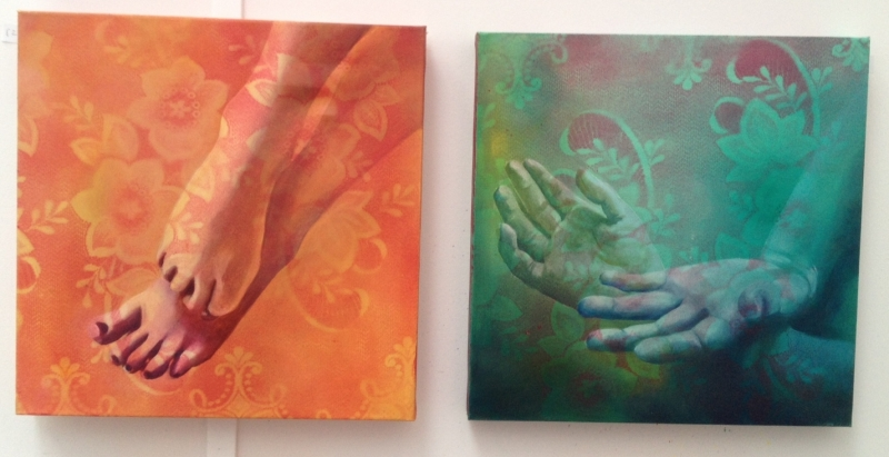 art auction, affordable art for sale, cheap art, erotc art, lace, flowers, feminism, oil painting, painted feet, painted hands, spray paint on canvas, pink, peach, orange, blue, green, transparent, sensual