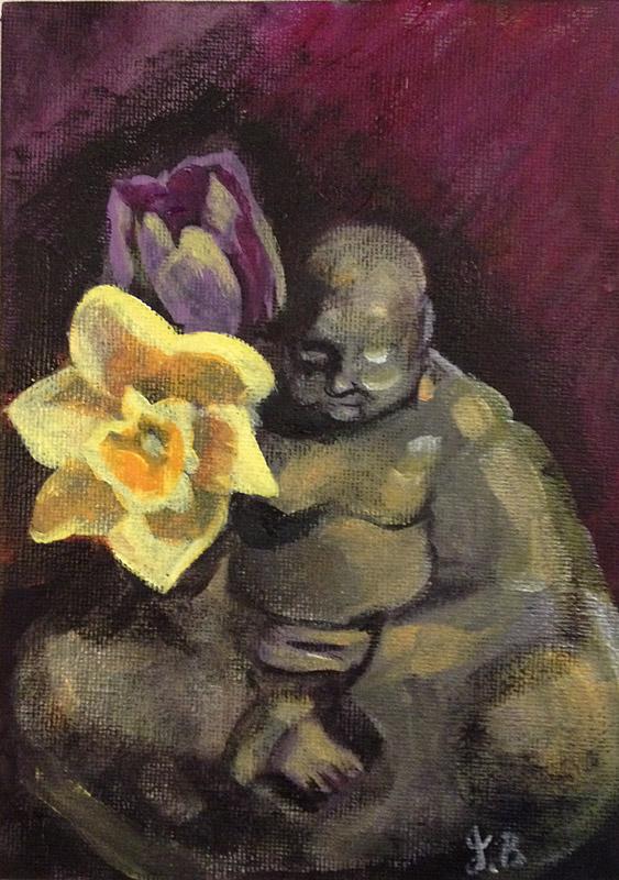 still life, buddha, buddha flower, lilly, purple lilly, painting,daily painting, a painting a day, daffodil, flower painting, buddha painting, Jessica Ballantyne