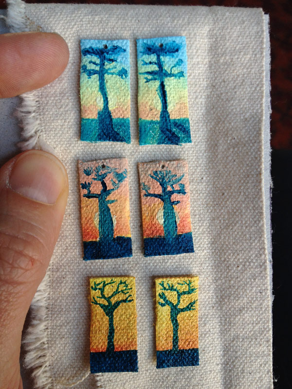 Daily Painting, A Painting a Day, Jessica Ballantyne, Daily Painting 12, tiny baobab trees, baobab, baobab sunset, baobab landscape, baobab earrings, baobab on canvas, canvas earrings, hand painted earrings, sunset trees, tree sihoette,