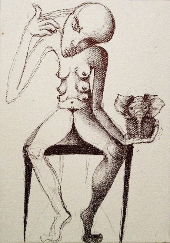 Jessica Ballantyne, nude pencil, peaceful figure, feminist art, feminist drawing, erotic, surreal, feminine art, self love, disturbing art, dark art, different art, original pencil drawing,pencil techniques, contemporary artist, uk artists, Daily painting, painting a day, miniature painting, 7x5 painting, surreal figure with mask, masked figure, six breasted nude, female nude with six breasts, pen and ink, surreal drawing, multi-breasted, surreal figure, elephant, elephant in the palm of your hand, elephant in the room, seated figure