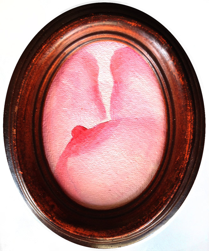 pink oil painting, pink nude, pink, nude, art, paitning, pink boob, pink nipple, antique frame, oval frame, classical nude, feminist nude, Jessica Ballantyne, Daily Painting, close up nude
