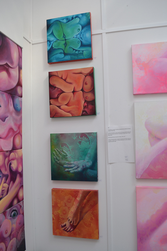 Jessica Ballantyne, SFSA, open studio, squished, surreal, erotic artist, blue bodies, red squished, abstract bodies, deformed bodies