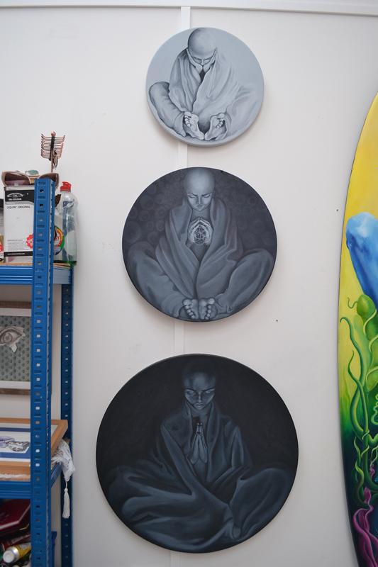 Jessica Ballantyne, restless monks, monks, circular canvas, circular paintings, oil paintings, monks, painted monks, spiritual art,