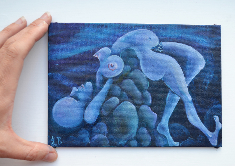 a painting a day, daily painting, surreal surreal body, surreal figure, dream figure, psychological painting, spychological compression, blue painting, cool painting, cold colours, many breasted, multiple boobs, many boobs, boob growths, sad face, sad painting, painted rocks, surreal landscape, surreal female figure, dark art, disturbing art, psychological art