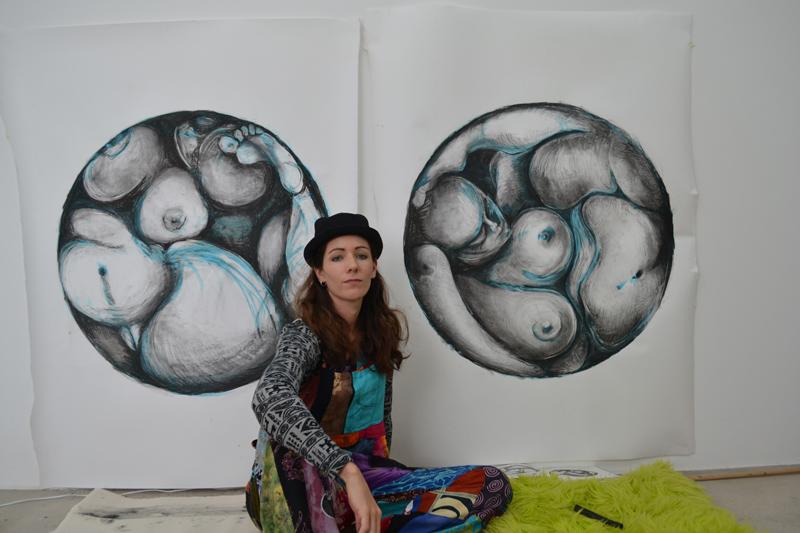 artist in studio, artist studio, jessica Ballantyne, Venus, charcoal venus, charcoal art, lareg charcoal, drawing, nude, voluptuous nude, contemporary artist, UK artist, South African artist
