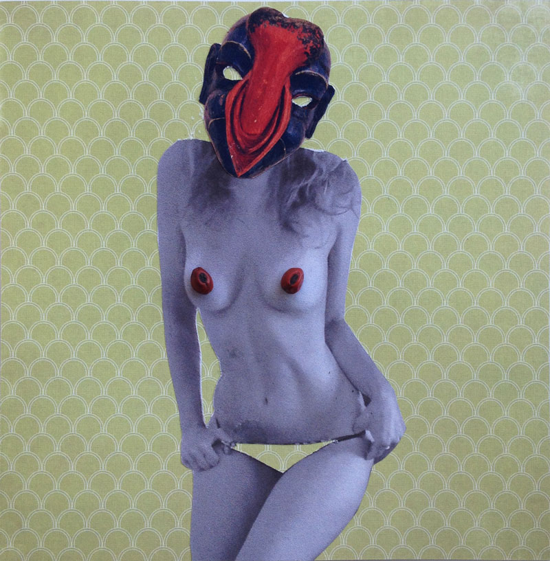 "Jessica Ballantyne<br /> Title: No Panties <br /> Medium: Collage<br /> Size: 6x6"", No Panties, African mask, sensual, erotic, figurative, mask, cut out, paper doll,six breasted, jessica ballantyne, jessica k ballantyne, collage, surreal, surreal collage, surrealism, insect, african mask, insect face, floral wallpaper art, wallpaper, floral, colourful, bright, different, strange, dark,unusual, inspired by hanna hoch, inspiration, vibrant art, green, patterned, wallpaper,"