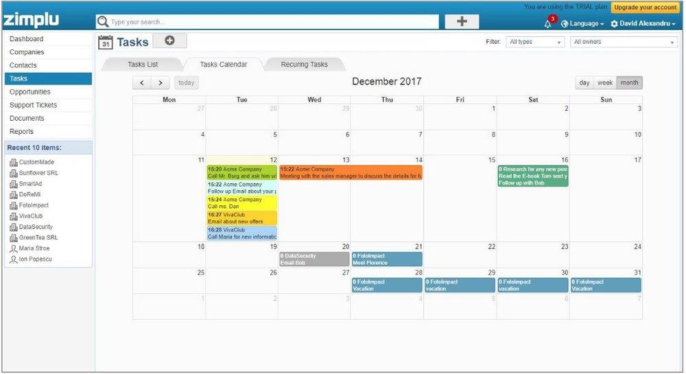 Task Calendar - Zimplu CRM