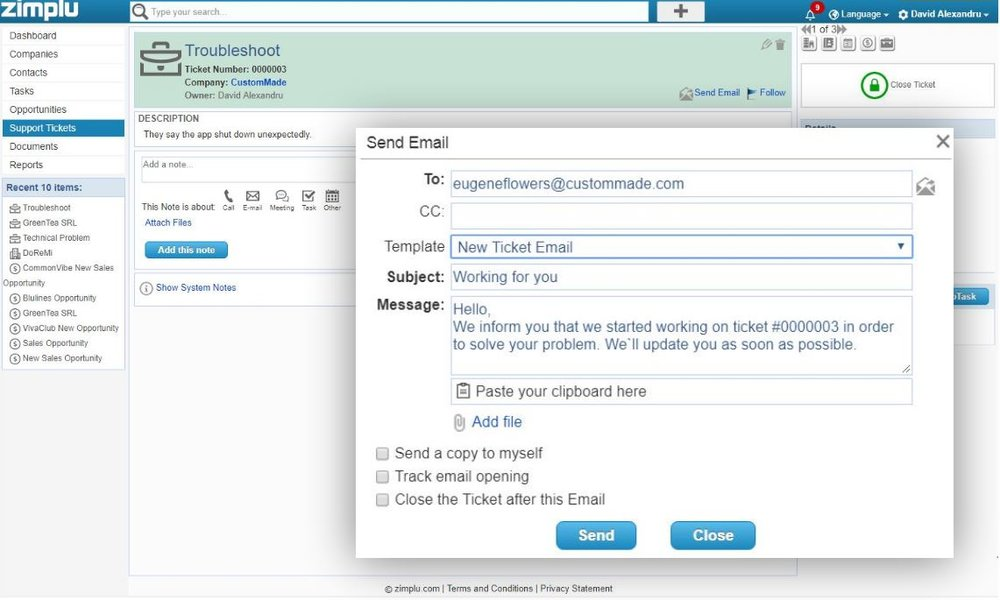 New Support Ticket CRM