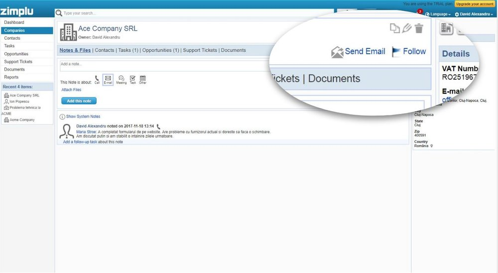 Email Integration - ZImplu CRM