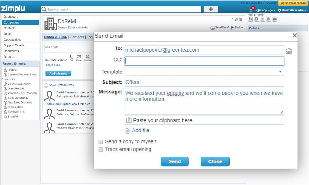 Save Conversation Details - Zimplu CRM