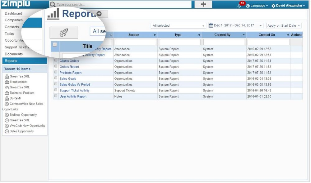 Reporting CRM