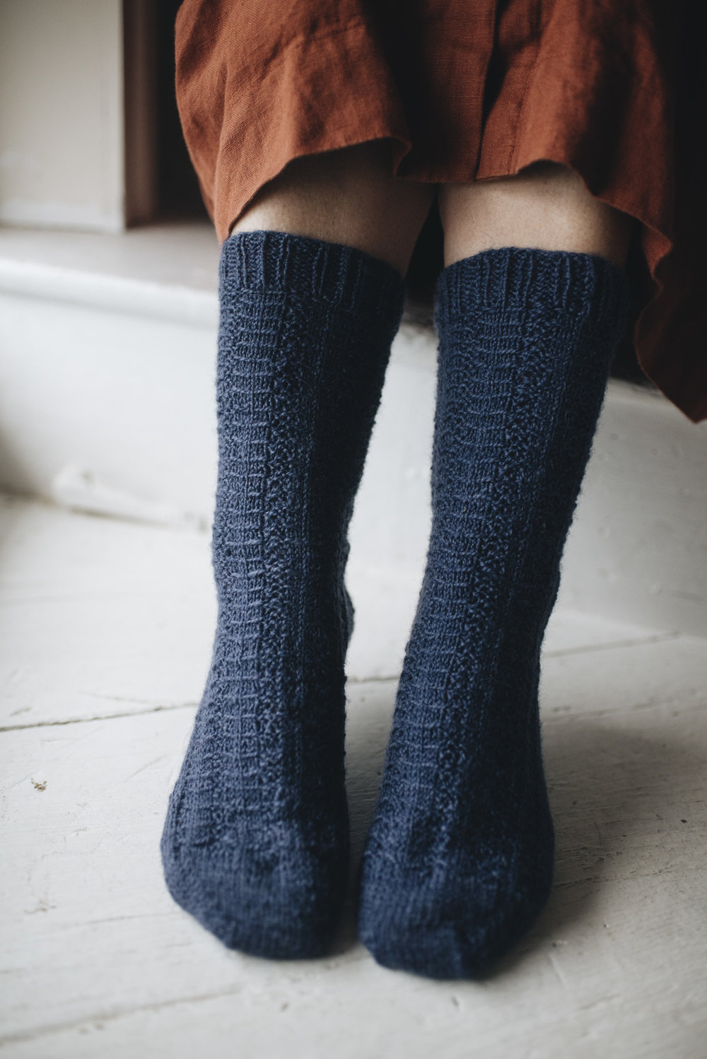 Pattern: Fir Socks  Designer: Melody Hoffmann  Yarn: Natural Sock