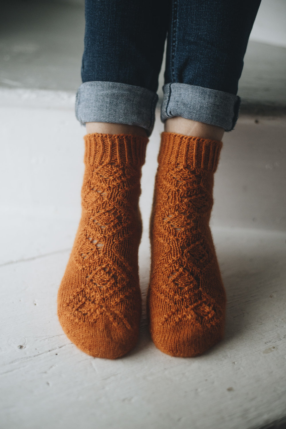 Pattern: First Fall Days Socks  Designer: HLH Designs  Yarn: Natural Sock (Designed in this yarn)
