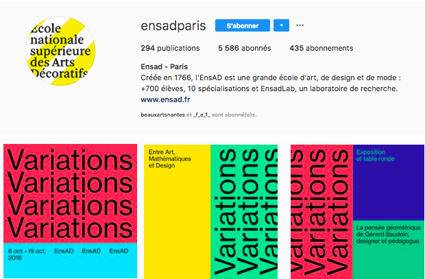 Instagram exemple type ENSAD