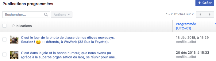 publication programmée facebook