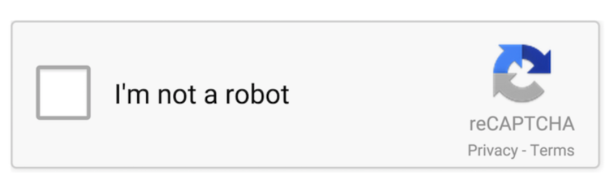 reCAPTCHA featuring a simple 'I'm not a robot' checkbox.