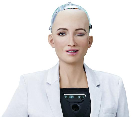 An image of  Sophia , a social humanoid robot developed by Hanson Robotics.