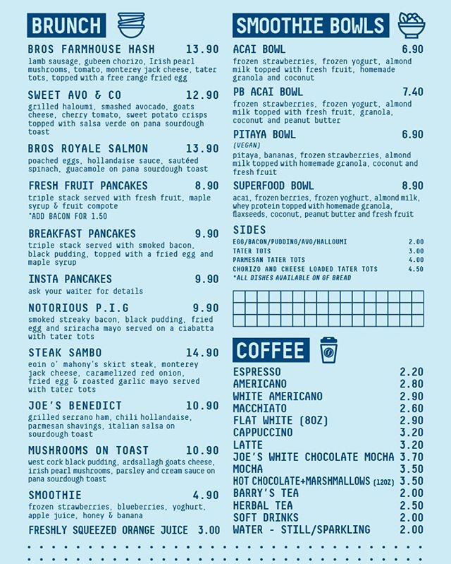 New Brunch Menu... Launching tomorrow, Open from 10.30 to 15.30 Sat - Sun! Due to the increased VAT rate we've had to adjust some of our prices, we hope you can all understand #joesandbros #brunch #joesbrunch