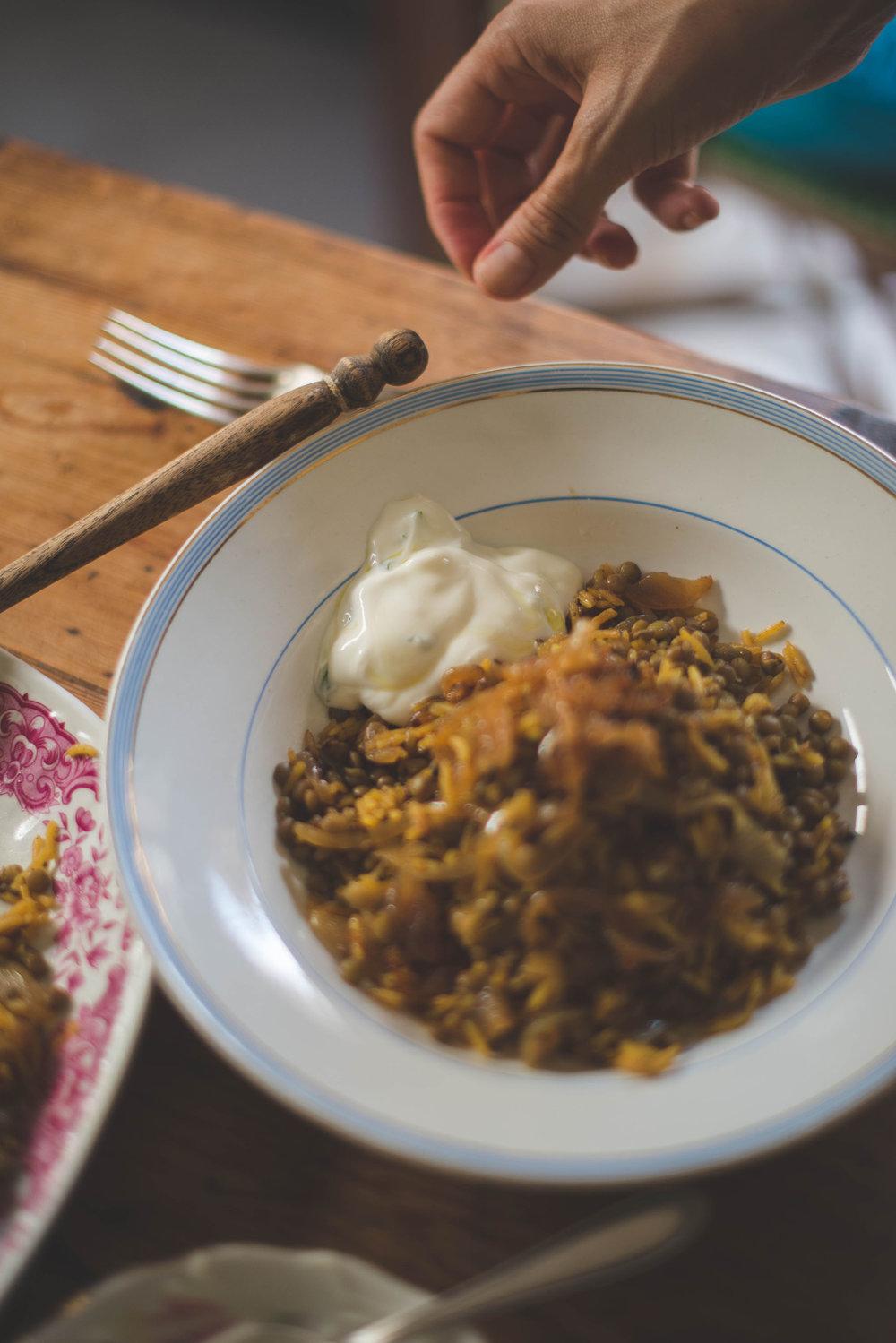 Lentejas con arroz especiadas