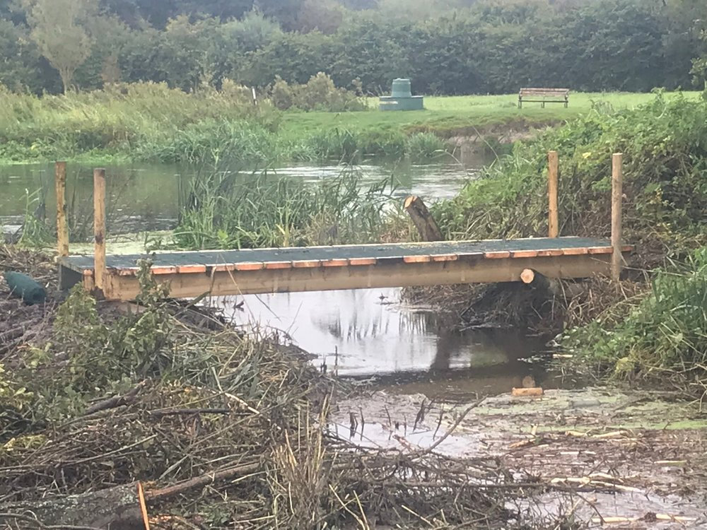 The new footbridge now allows the angling club to be able to maintain and fish from the island.