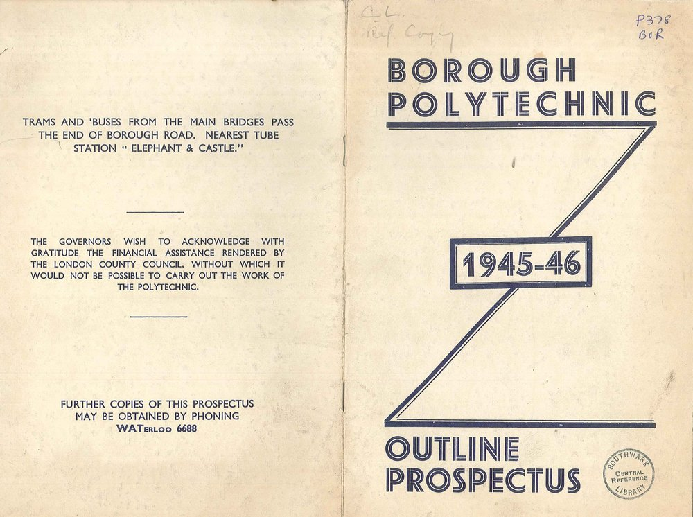 Borough Polytechnic Prospectus 1945 – 1946.  The outline prospectus for the Borough Polytechnic in David Bomberg's first year in teaching.