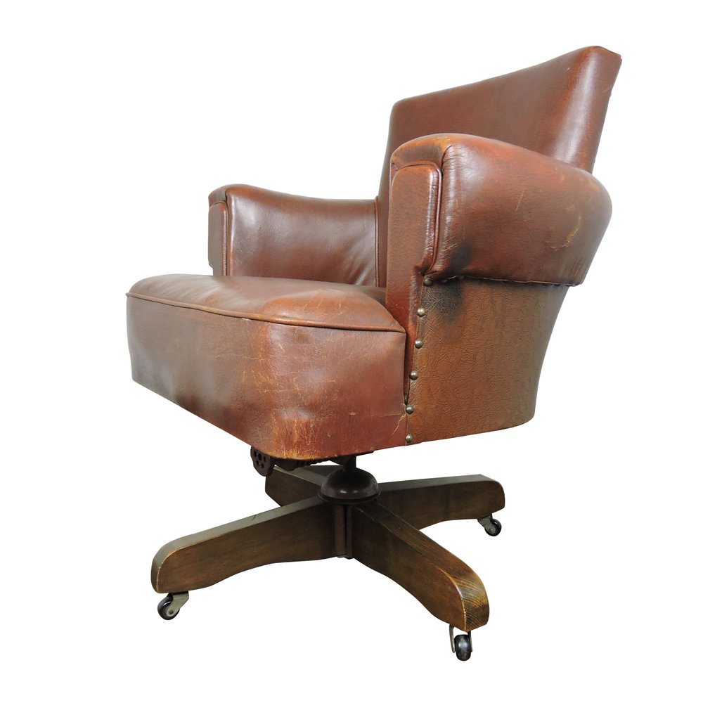 Whisky Brown Leather Captains Chair From Hillcrest, 1920s
