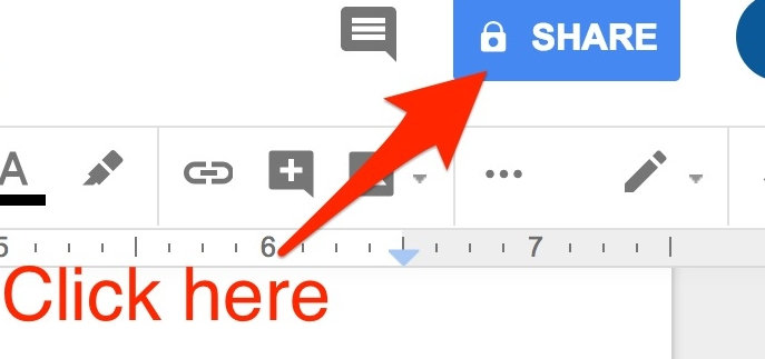 Click the blue SHARE button in the upper right corner of the Doc you would like to share.