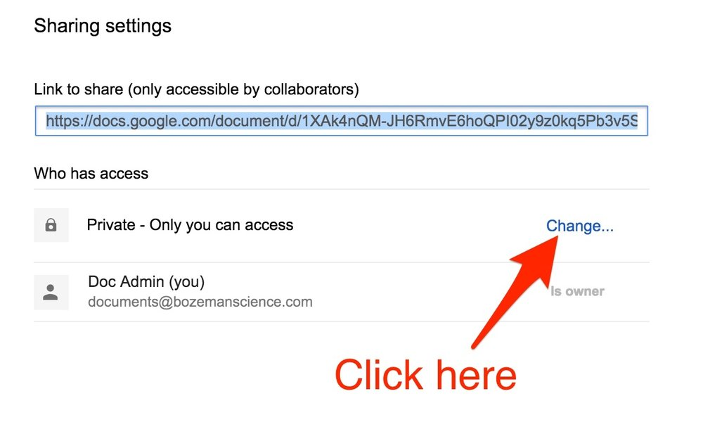 Click the Change... button to change the access settings.
