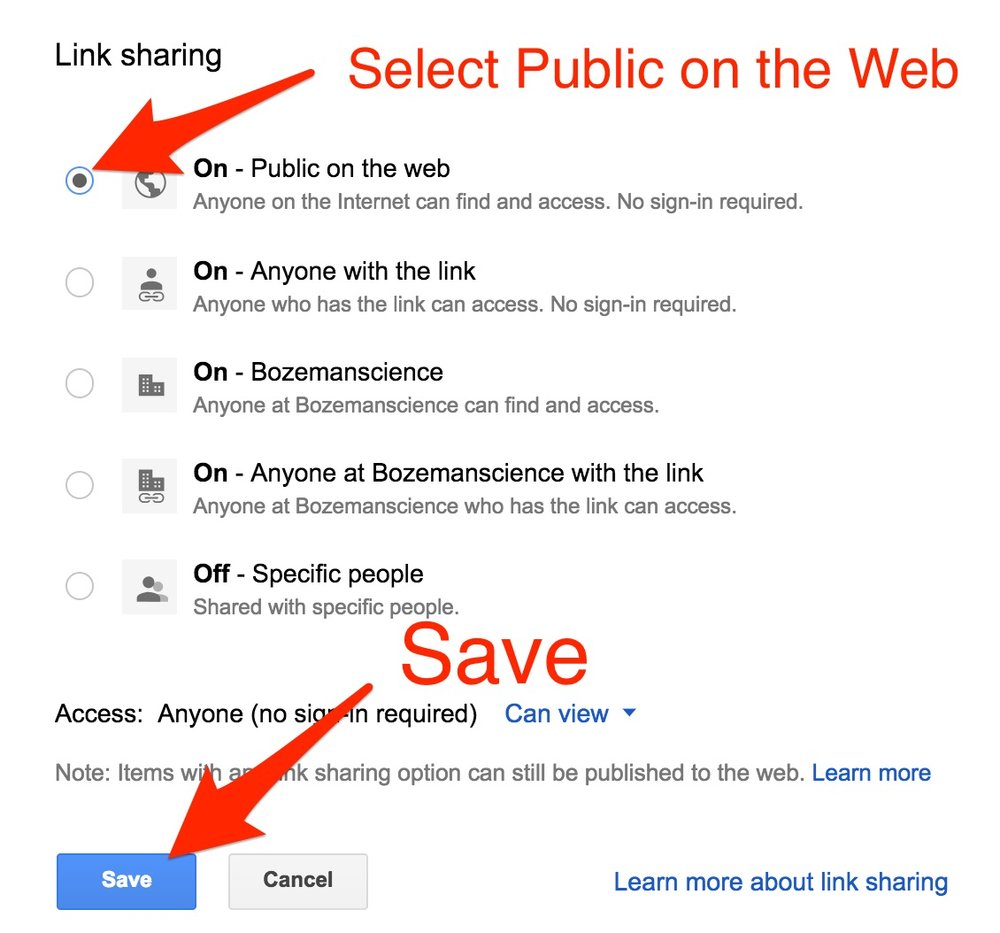 Click the Publi on the Web button On and Save.