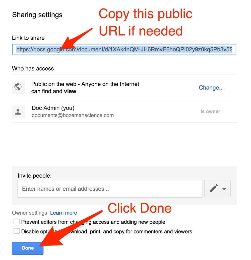 If you need the URL to send to someone or add to a website copy the URL.  Click DONE and you are done.
