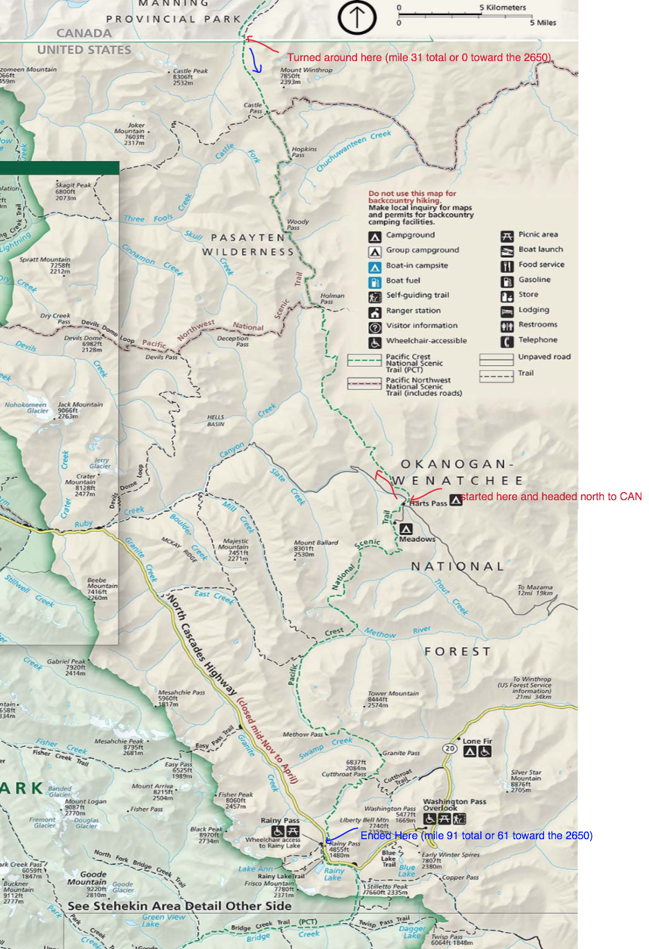 Displayed is the map used to navigate through The Okanogen-Wenatchee National Forest and The Pasayten Wilderness.