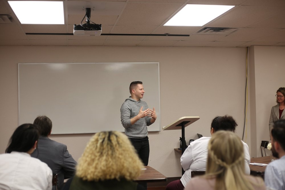Pastor Chad Classen addressing attendees and discussing the impact of LifeChurch's partnership with TEEM.
