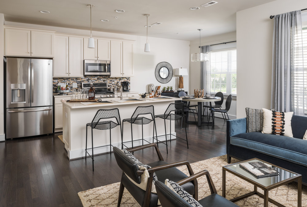 photo of a condominium kitchen and living room