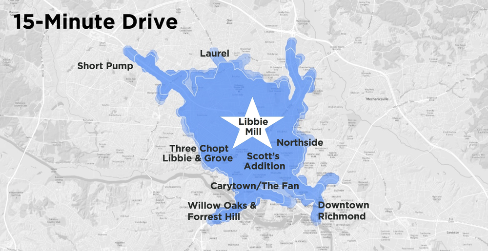 photo of map illustrating the 15-minute drive from libbie mill to places in richmond
