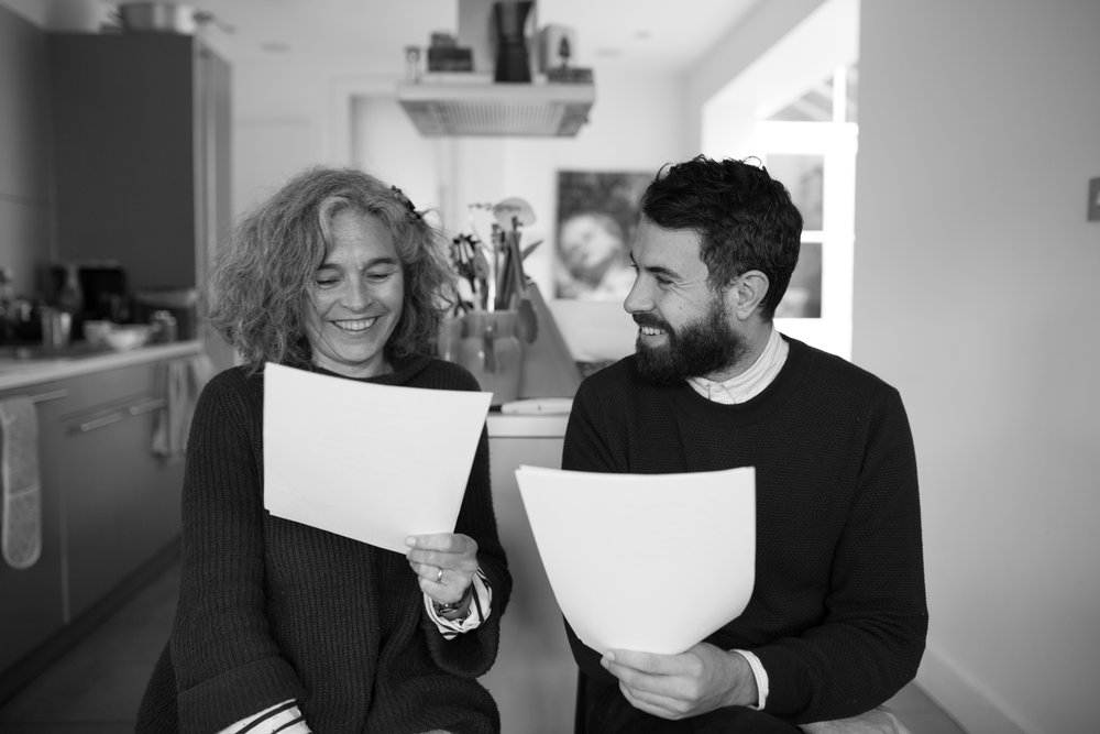- Writer, Louise Osborne and her son, actor Tom Cullen at a recording session of the Demenstoria poems.