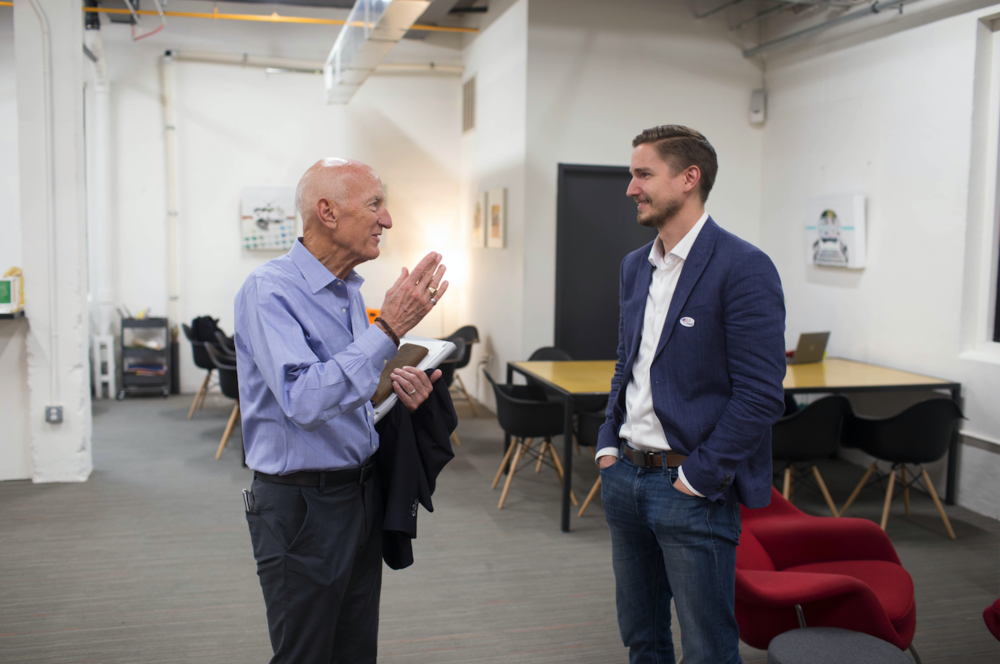 David jones from peak 10 and Kevin geriunas meet for the first time at advent coworking