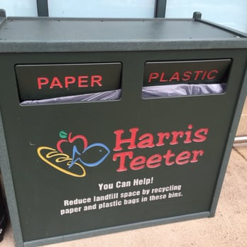 Participating stores like Harris Teeter provide recycling bins for plastic film.