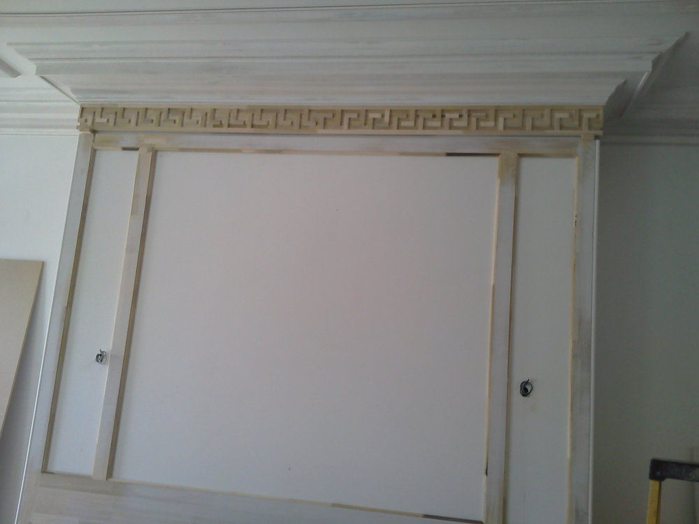 Greek Key Installed on Fireplace Surround