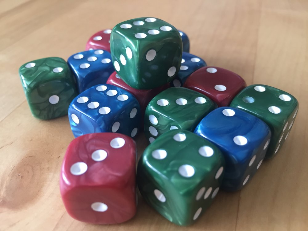 fifteen excellently marbled dice
