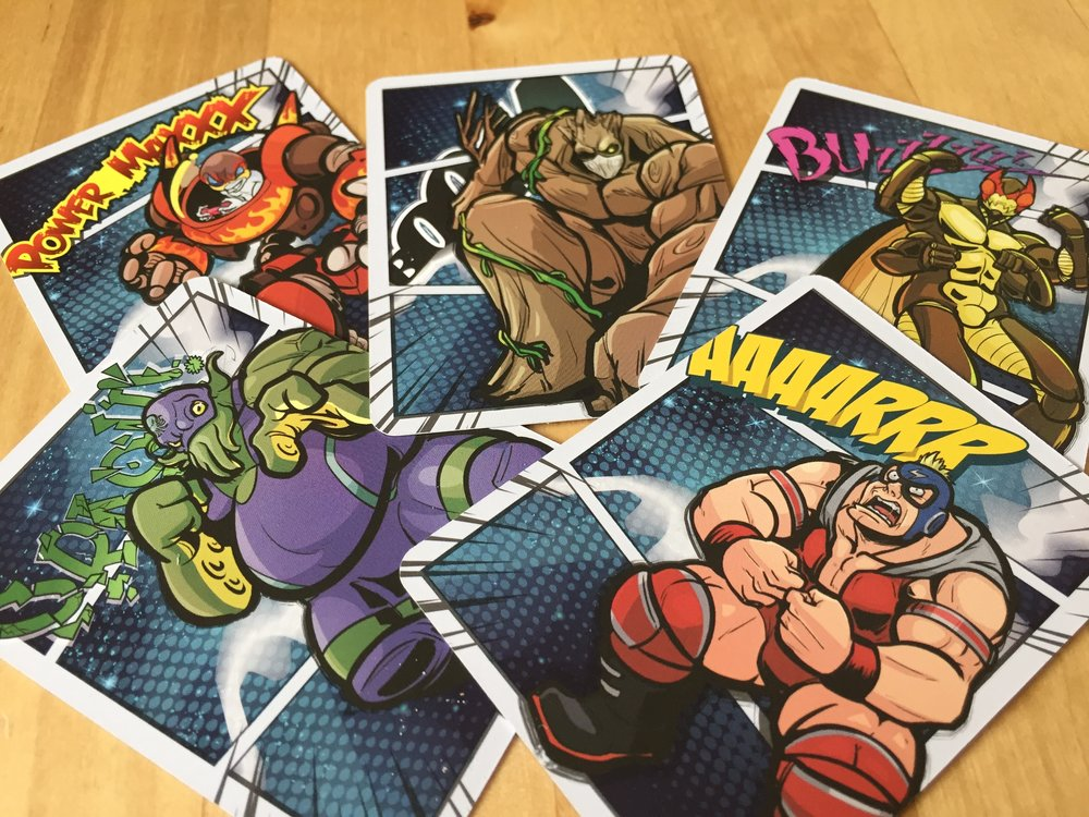 FIVE wrestlers! Each comes with their own deck of 11 cards. (All decks are the exact same.)