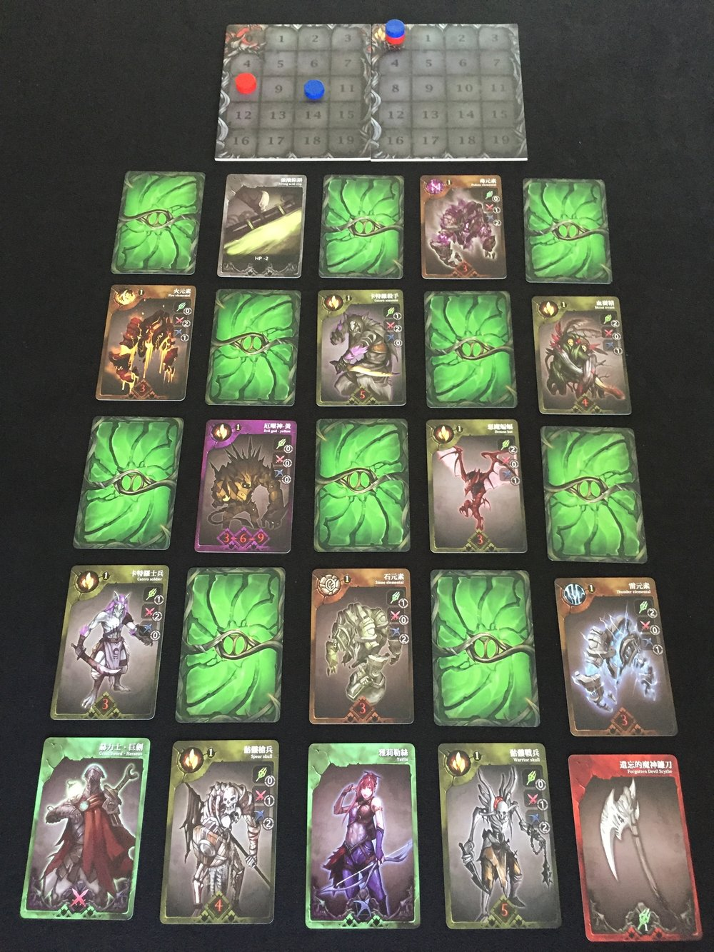 Game Setup: Each of the three dungeon floors consists of 25 cards—five columns of 5 cards each.