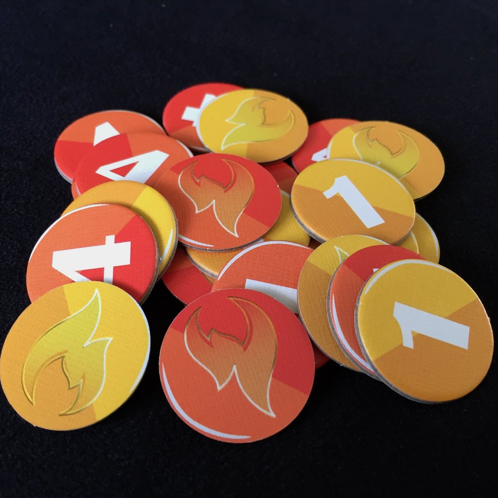 Scoring tokens: 4 point (x12), 1 point (x12)