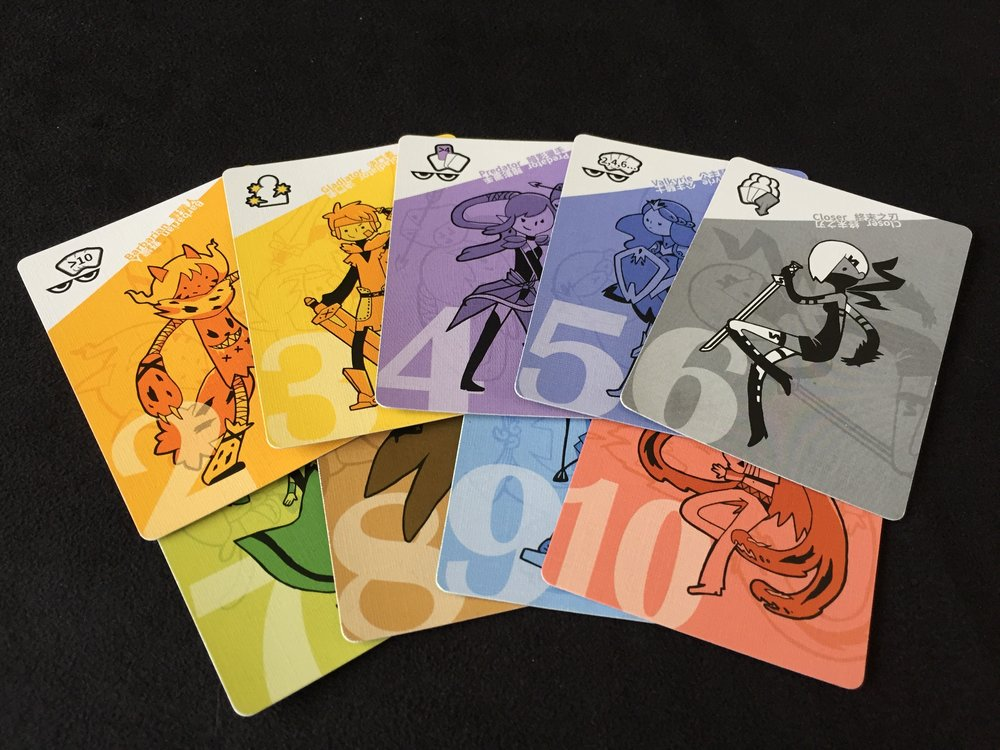 Nine Unique Character Cards: Barbarian (two), Gladiator (three), Predator (four), Valkyrie (five), Closer (six), Himiko (seven), Doctor (eight), Aqua (nine), Arrogance (ten)