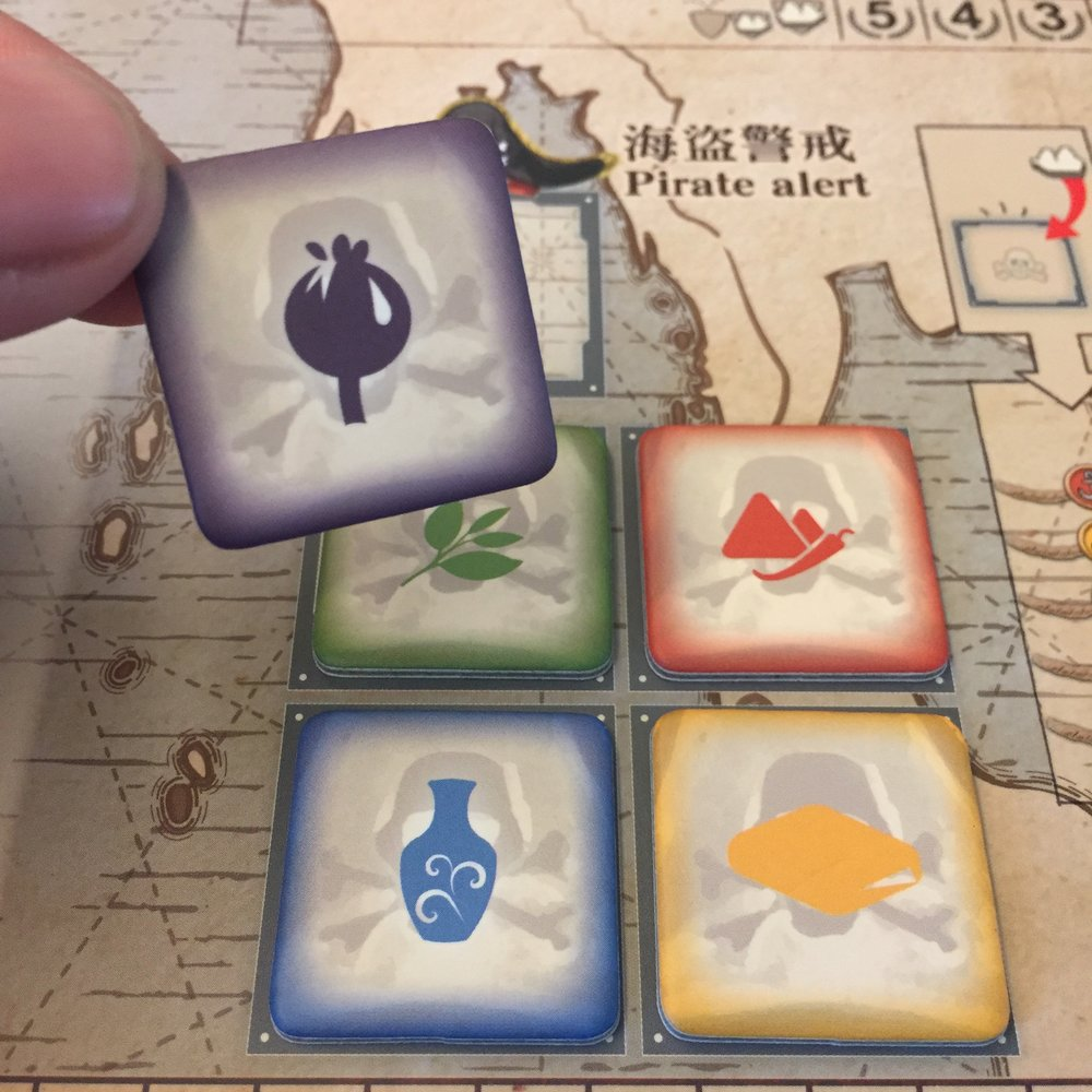 7B. Spend both actions to pass, and you may take the opium raid marker! One of only two ways to get opium, and throw in a free ship while you're at it.