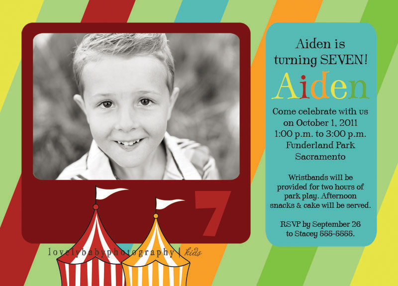 carnival photo birthday invitation
