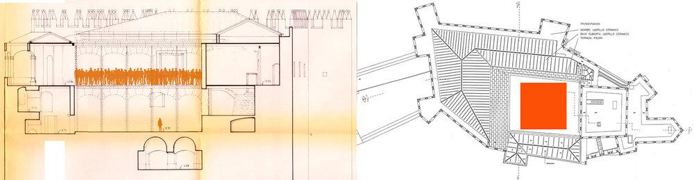 Elevación y plano del Patio de Honor ilustrando el tamaño de la construcción.