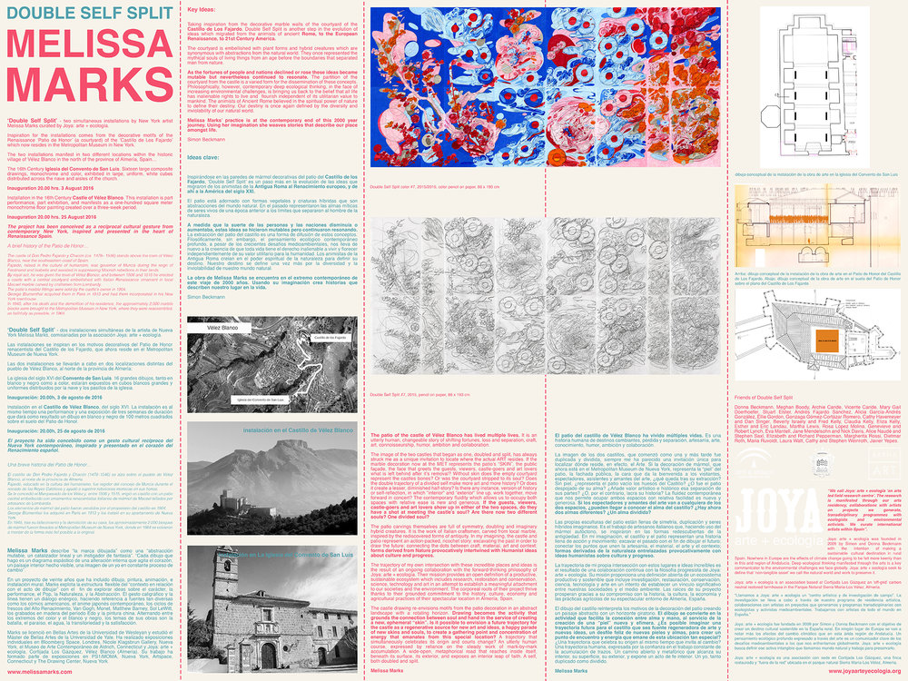 Joya: arte + ecología produced bi-lingual information sheet for the exhibition...